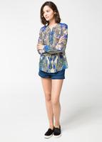 European Grand Prix  new winter women's blue and white long-sleeved V-neck shirt blouse 8037