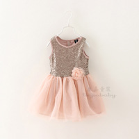 New 2015 Summer  foreign trade Boutique girls Sequined veil dress baby girls vest party dress with flower 6pcs/lot