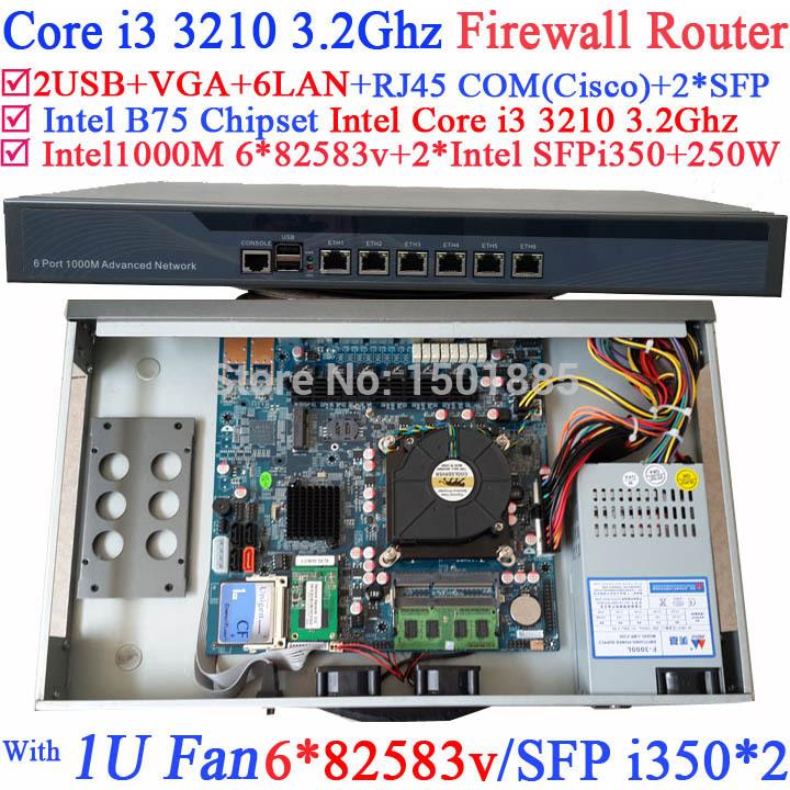SOHO ethernet router 1U router barebone with SFP 6*1000M 82574L Gigabit Nics 2* intel i350 SFP Intel Core i3 3210 3.2Ghz(China (Mainland))