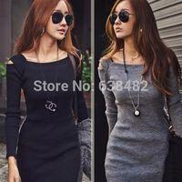 Selling Sexy Women Unique Open Shoulder Square Neck Long Sleeve Slim Mini Dress