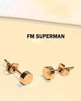 Hot Sell Fashion Rose Gold  Round  Titanium Stud Earrings Hiphop Women Men earrings Small Earrings