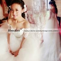 2014 New Fashion In Stock Elegant Princess V-neck Brush Tain Wedding Dress Luxurious Lace Bridal Gown Bride Dress HoozGee 7592