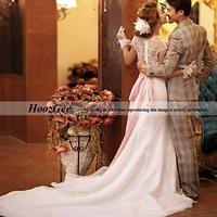 2014 New Fashion In Stock Elegant Mermaid Scoop Brush Tain Wedding DressLuxurious Lace Bridal Gown Bride Dress HoozGee 7588