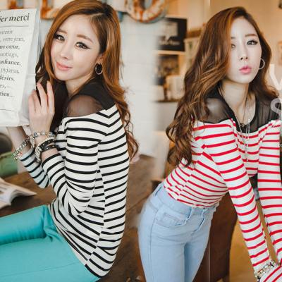 mulher tops 2014 outono sexy senhora t-shirt malha cultivar longo- mangas camiseta listrada assentamento feminino camisa frete grátis(China (Mainland))