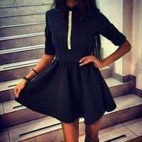 summer fashion women slim party dress diamonds  long sleeve turn down collar A line mini one piece casual dress