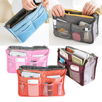 Hot Dual Zipper Portable Bag Multifunction Travel Storage Case Cosmetic Sorting Bags Holder Handbag Organizer [LL348]
