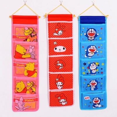 Cartoon wardrobe multilayer pouch Bag storage bags hanging door behind pocket Storage Bags 1478(China (Mainland))