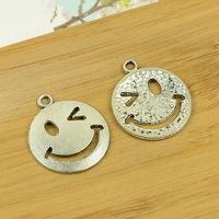 50pcs/lot A3119 antique silver smiley face shape alloy charm pendant fit jewelry making 226x22mm wholesale