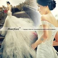 2014 New Fashion Elegant Mermaid Off Shoulder Brush Tain Wedding DressLuxurious Lace Bridal Gown Bride Dress HoozGee 7591