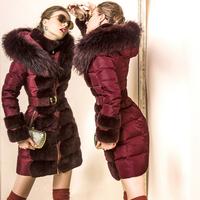 Luxury Brand Collection Winter Women High Quality Rex Rabbit Fur Super Large Raccoon Fur Hooded Slim Down Coat  F16593