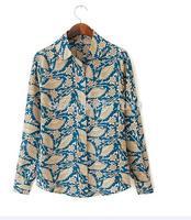 Free shipping cotton long-sleeved shirt lapel fan printed blouse shirt