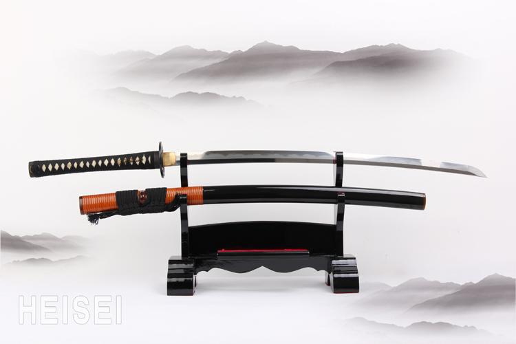 Handmade craftwork clay tempered CARBON STEEL blade japanese samurai katana ninja sword brass Tsuba(China (Mainland))