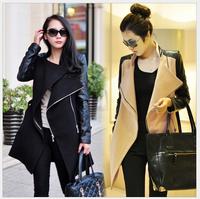 Fashion 2014 Winter Women Coats Hot Selling Contrast PU Leather Woolen Overcoat Autumn Trench Coat Women Jackets Sale