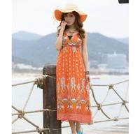 2014 New Fashion Personaility Graceful Stylish Bohemia Style Halter V-neck Flower Printed Long Dress Orange