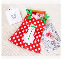 New 2015 dress girls' dresses, bow casual dress sleeveless  girl Merry Christmas dor Dress  free shipping