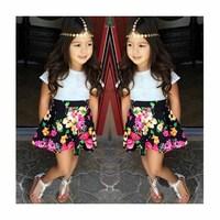 2014 New Summer Europe America Style Girls Clothing Sets ( Girls T shirt Short Sleeve + Skirts ) Fashion Print Kids Girl Clothes