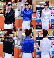 Women's Slim Silk Blouse , Lace Hollow Out Long Sleeve Tops  Shirt Blue Black White S-XXL