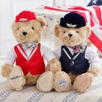 32cm super cute soft stuffed plush teddy bear toy,  airline stewardess bear, lovely graduation & birthday gift for children, 1pc