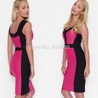 2014 New Fashion  Women Celebrity  Style Tank sleeve  Sheath Cocktail Patchwork  dress 3238