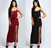 Vintage Women Lady Sexy Strap Backless Frill Ruffled Slit Empire Bodycon Slim Vestidos Casual Club Cocktail Party Long Dress