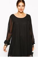 XXL Women autumn winter clothing  new vestido Black chiffon Mini Dress Plus Size LC21820 roupas femininas dear-lover