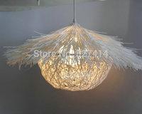 Pastoral hand-woven rattan cane grass twine ball pendant chandelier creative restaurant bedroom living room lights decorative