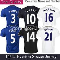 Everton Jersey LUKAKU 14 15 BAINES Everton Soccer Jerseys 2015 Away Black White Shirts MIRALLAS OSMAN JAGIELKA ETO O camiseta