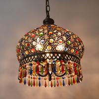 Mediterranean Bohemian Crystal Chandeliers Wrought Iron Lamps Living Room Lamp LED Crystal Pendant Lamp Bedroom Balcony Lamp
