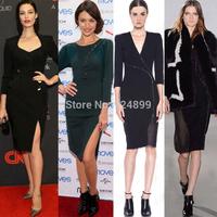 2014 fashion women celebrity party dress sheath full sleeve V neck bandage Zipper dress 3258#