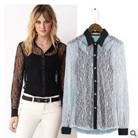 Free Send Vest ! 2015 New Woman Shirt Summer Fashion Sexy Openwork Lace Blouse Long Sleeve Blouse Women Tropical Female Shirts