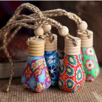 Car polymer clay pendant bottle perfume upscale taste painted pottery painted perfume bottle car air freshener bottle