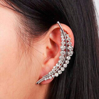 (Mini Mix Order > $10) 2014 New Women Hot Selling Exaggerated Platinum Plated Full Crystals Leaf Stud Earring Ear Cuff CE81475(China (Mainland))