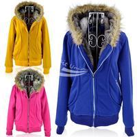 New Women's Plush Thick Warm Hoodies Overcoat Winter Coat Fleece & Cotton Padded Jacket Jackets 3colors 3sizes 9167