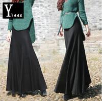 2015 Fashion long skirt high quality mermaid skirt women's casual autumn winter wool skirt solid color full length