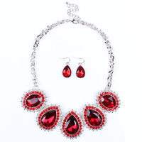 TL4004 fashion wedding alloy jewelry set drops Rhinestone Diamond Necklace Earrings Jewelry polychromatic set