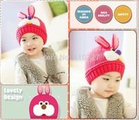 Free Shipping 2014 New winter warm baby rabbit 3D modeling woolen cap sleeve head cap the  protective ear cap10pcs/lot