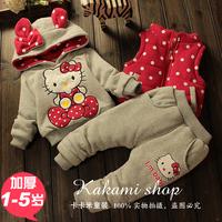 hello kitty hoodies + leisure trousers + waistcoat suits children's clothing sets winter cartoon plus velvet thickening coat