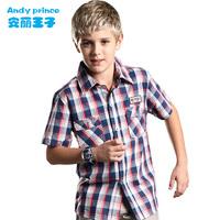 2014 summer boy short-sleeve plaid shirt 100% cotton child shirt 100% children's cotton clothing