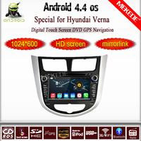 Pure Android 4.4 Capacitive Screen Car dvd gps+Glonass for Hyundai Solaris Verna 3G radio bluetooth+Wifi USB+Support Camera+TPMS