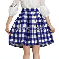 2015 New Arrival Spring Autumn European Style Top Fashion Women High Waist Vintage Black Blue Paid Knee-Length Ball Gown Skirt