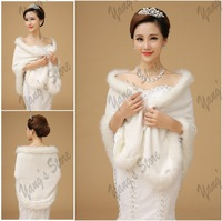 Elegant Bridal Bolero Jacket Ivory Fur Edge Winter Wraps Wedding Jackets Free Shipping 6798