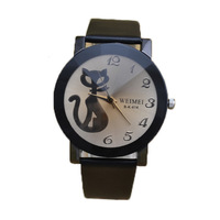 fashion coffee glass black elegant cute cat kid watch women hour clock girl lady child lady wristwatch buyer price good quality