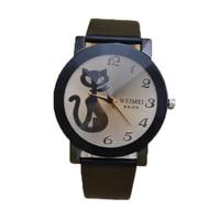 fashion coffee glass black elegant cute cat kid watch women hour clock girl lady child lady wristwatch buyer price good quality