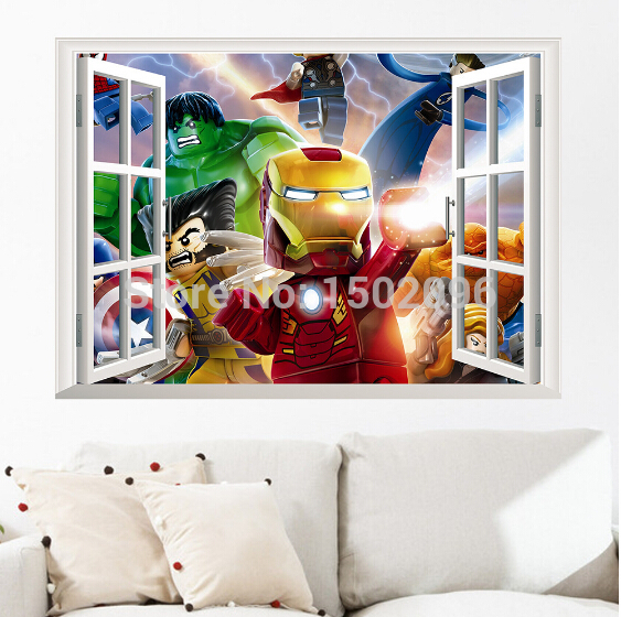 2014 new lego games 3d flase widnow wall sticker for kids for 3d room decoration game