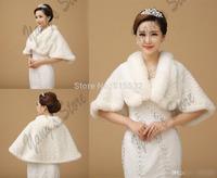 Free Shipping Ivory Winter Wedding Dress Bolero Bridal Fur Wraps Warm Frozen Snow Wedding Jackets AL6797