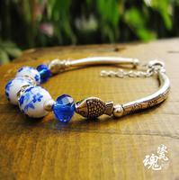 Hot-selling bracelet fine jewelry 925 miao silver national trend handmade Bangles fashion jewelry ceramic bracelet