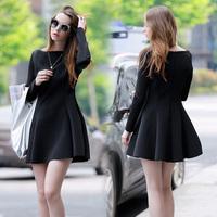 High Quality Female Fashion Puff Skirt Plus Size Clothing Slash Neck Long-Sleeve Women's Pleated Knee-Length Dress