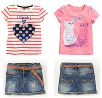Free shipping,2014 new children's clothing  summer female child stripe love cat short-sleeve denim set kids jeans sets 6sets/lot