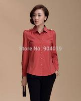 Women's Slim Cotton Blend Career Blouse ,  Long Sleeve Epaulets Tops  Shirt Blue Red S-XXL