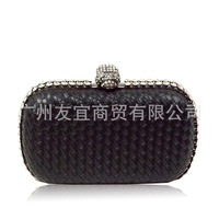 New Arrival Knitting Style Clutch Evening Bag High Quality Skull Rhinstone Party Hard bag For Women